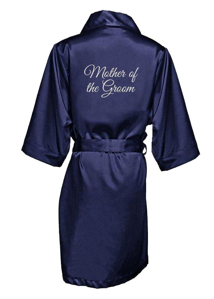 Zynotti Women's Glitter Bride Bridal Party Titles Getting Ready Wedding Satin Robe RB-SILVGLTR-BRIDE