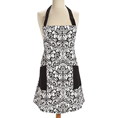 DII 100% Cotton, Fashion Printed Damask Chef Kitchen Apron, Adjustable Neck Strap & Waist Ties, Machine Washable, Front Pockets, Perfect for Cooking, Baking, Barbequing, & More - Black
