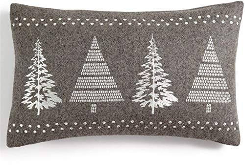 Holiday Lane Gray Rectangular Christmas Tree Decorative Pillow [並行輸入品] B07R6ZW8HG