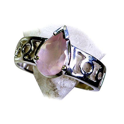 Jewelryonclick Prong Setting Real Rose Quartz Ring Silver Band Pink Pear Shape Available in Size 4-12 by Jewelryonclick (Image #4)