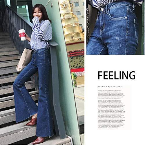 Alta Blu Hx Chic Larghi Tromba Pantaloni Vita Donna A Pelosi Fashion Jeans PqP7Y