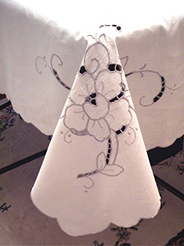 - Vintage 64x78 Madeira Embroidered Cutwork Lace Linen Tablecloth