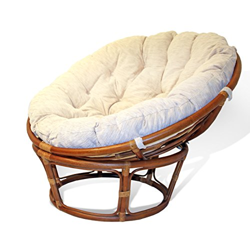 Handmade Rattan Wicker Round Papasan Chair with Cushion Colonial (Light Brown) price