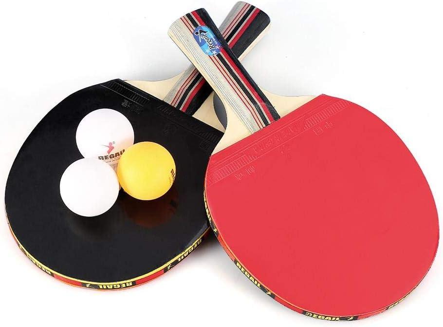 Dilwe Juego de Paletas de Ping Pong, 7 Capas Juego de Paletas de Ping Pong de Madera Adecuado para Jugadores con Apretón de Manos con Pelotas y Estuche