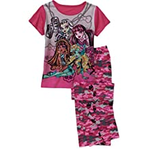 Monster High Girls' 2 Piece Short Sleeve Tee and Pant Pajama Set