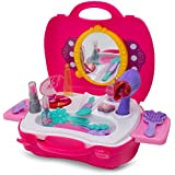 Kidsthrill Make up Case Little Girls Cosmetic Set – Pretend Play Kids Beauty Salon