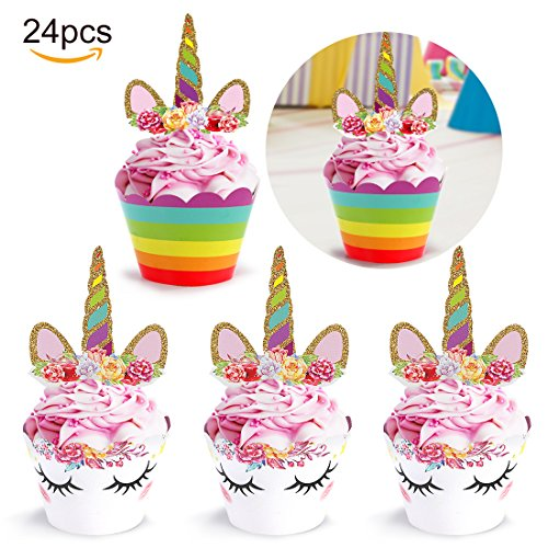 Unicorn Cupcake Toppers/Wrappers, Kids Party Cake Decorations | Baby Shower | Birthday Party Supplies - Set of -