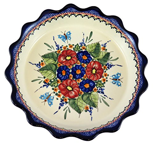 Polish Pottery Round Pie Plate with Fluted Ridge 9 inch x 2 inch