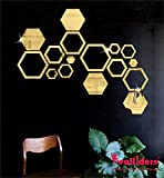 Wall1ders - 4 Hexagon and 12 Hexagon Shapes Different Size Golden 3D Acrylic Stickers, 3D Acrylic Mirror Wall Stickers…
