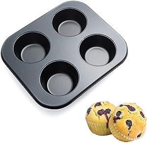 Cupcake Pan Nonstick Baking Tray Carbon Steel Baking Pans Kitchen Bakeware Cupcake Baking Muffin Pan Heat Resistant Cake Baking Trays for Oven Easy to Clean (4 - cup)