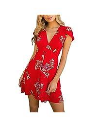 Goddessvan Womens Floral Boho V Neck Mini Dresses Summer Beach Sundress Maxi Dress