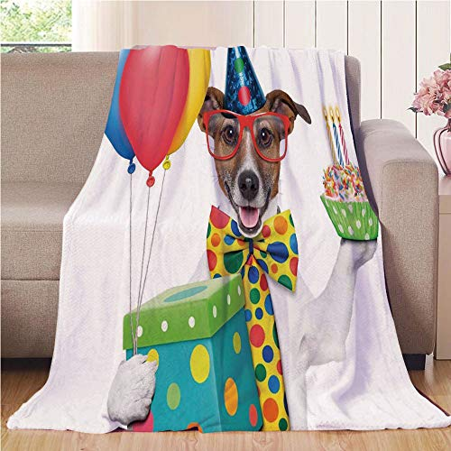 Blanket Comfort Warmth Soft Cozy Air Conditioning Fleece Blanket Perfect for Couch Sofa Or Bed,Birthday Decorations for Kids,Waiter Server Party Dog with Hat Cone Cupcake Balloons Boxes,Multicolor,5