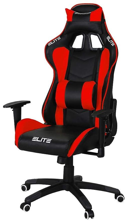 – Chefsessel Gaming Stuhl MG Racer ELITE 200 Bürostuhl – Racing Drehstuhl – – – SchreibtischstuhlSchwarzRot Chair Kunstleder Ergonomisch P8Xnk0wO