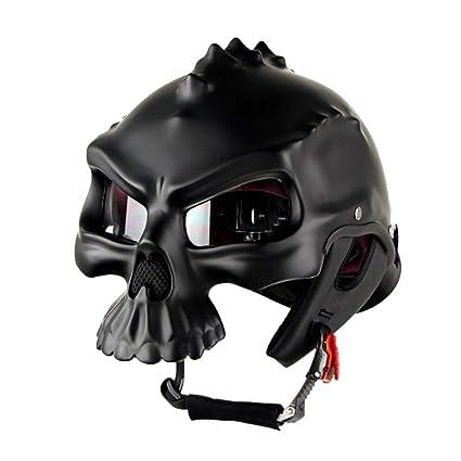 Wansheng Casco De Moto con Forma De Calavera Negro Casco De Moto con Media Cara De