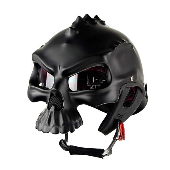 Wansheng Casco De Moto con Forma De Calavera Negro Casco De Moto con Media Cara De Harley D.O.T Estándar De Seguridad Protección Anti-Colisión Fuerte ...