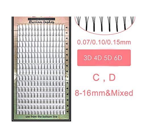 Lashes 16 Lines Premade Volume Fans 3d/4d/5d/6d Lash Russian Volume Eyelash Extensions Pre made Lash Extension Faux Mink,C,0.07mm,9mm,black 6d fans ()