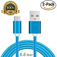 Myckuu 2pack 6.6FT/2M Rugged Nylon Braided Micro USB Cable [Aluminum Shell Port] Charging & Sync Data Cable for Android Cell Phones, Computers, Tablets, (Blue)