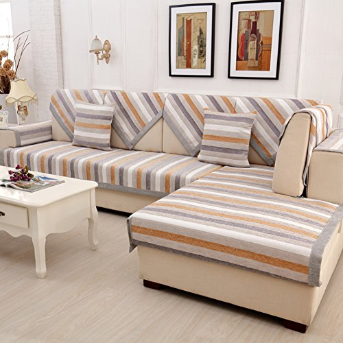Wayward Anti-Slip Sofa slipcovers,Stripe Chenille Sofa Covers,Furniture Protector European Dust-Proof Couch Covers Luxury Sofa Cushioning Stain-Resistant Dust Cover-A 110x110cm(43x43inch)