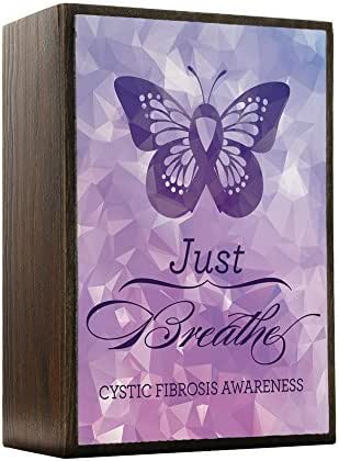 Inspired Home - Cystic Fibrosis Awareness - Just Breathe Wood Box Sign - Modern Home Decor - Contemporary Wall Decor - UV Print Wooden Desk Decor
