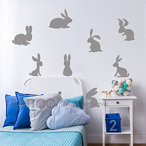BATTOO 16 Bunnies Wall Decal Sticker- Easter Decor- Bunny Vinyl