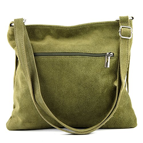 shopper shoulder T02 Women's suede leather T145 bag bag handbag bag Italian real Oliv ng6OUtw