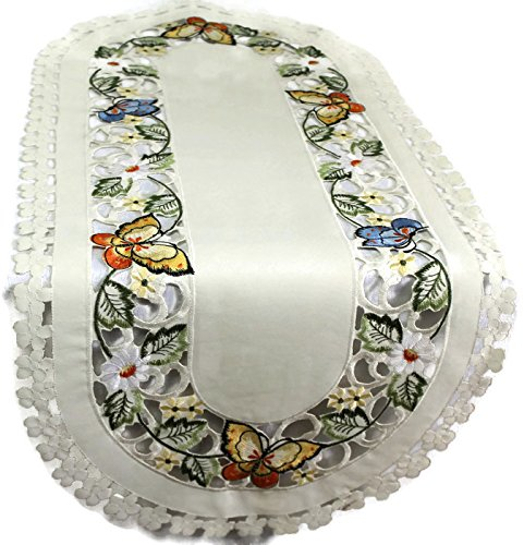 Embroidered Multi- Color Butterfly Table Runner 14 By 54 (Butterflies Dresser Scarf)