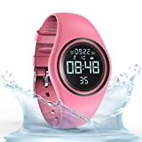 Cheap Synwoo Pedometer Smart Watch IP68 Waterproof Sport Wristwatch Fitness Tracker with Step Distance Calorie Alarm Clock and Timer Function for Kid Teenager and Adult (Pink)
