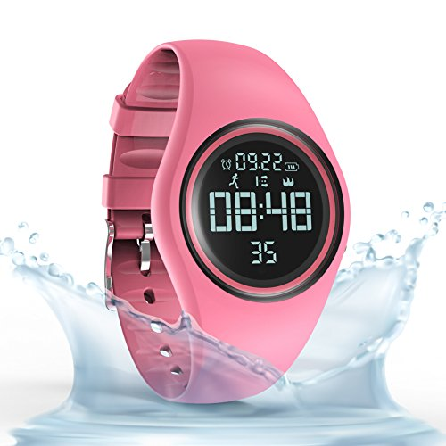 synwee Pedometer Smart Watch IP68 Waterproof Sport Wristwatch Fitness Tracker Step Distance Calorie Alarm Clock Timer Function Kid Teenager Adult (Pink)