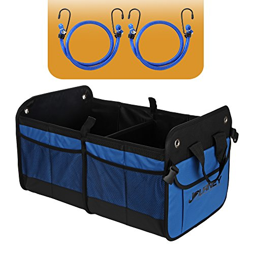 Premium Trunk Organizer - Durable Car Organizer Keeps Things Stowed with Non Slip Bottom Velcro Strips & 2 Bonus Bungee Cords to Keep Cargo Organizer in Place