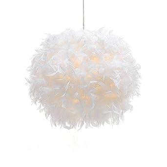 Suspension Plume Luminaire Blanche Moderne Lustre Abat-Jour 30cm pour les  Salons Chambres des Enfants