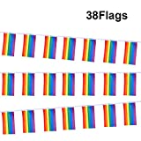 G2PLUS 9.6M Rainbow Bunting Gay, Outdoor Nylon Bunting Flags, Multi-color Banners Perfect Decorations for Festival Party Celebration Events (1 PCS)