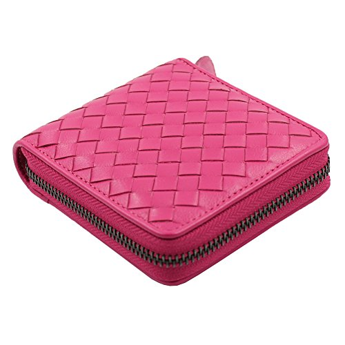 MISSAMMY sheepskin Leather basket weave design short Zipper Wallet Purse for Ladies (Sheepskin Wallet Womens)