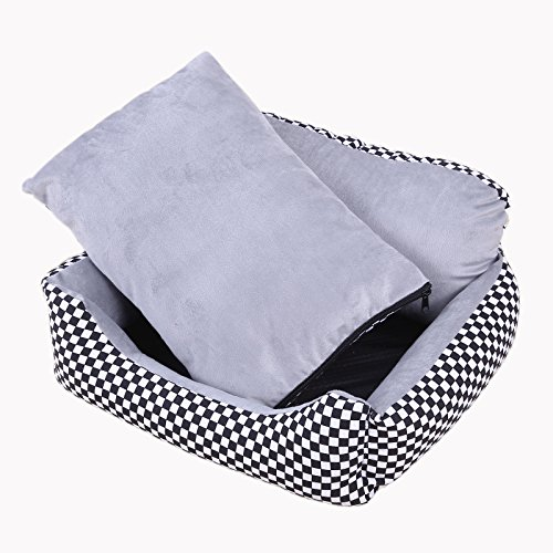 Quno New Sofa Armchair Waterproof Dog Pet Cat Bed Mattress Ultra-Soft Plush Fabric Cushion Washable Cover Black with White XL by Quno
