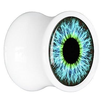 BodyCandy Acrílico Blanco azul-verde Llamativo Dilatador Par 20mm: Amazon.es: Joyería