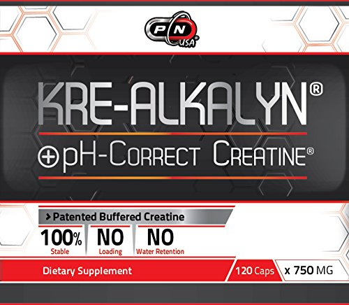 Kre Alkalyn Creatine Monohydrate Best Buffered Ph Correct No Water Retention No Loading Better Absorption Increases Pure Muscle and Strenght Sports Nutrition Supplement 1500 Mg 60 Servings 120 Caps
