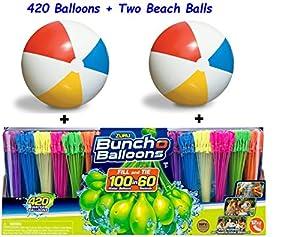 Bunch O Balloons Zuru Self-Sealing, Quick Fill Water Balloons (420 Ballons and 2 Beach Balls)