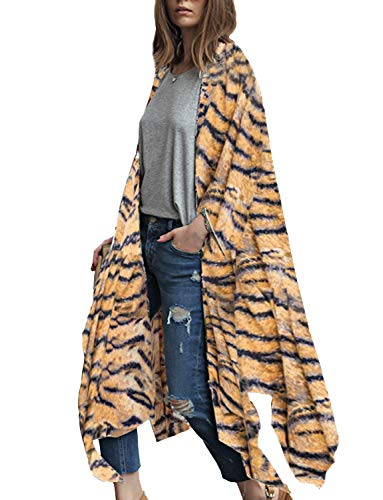 Women's Kimono Tiger Print Summer Cardigan Beach Cover Up (Yellow, 3XL)