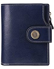 Wallets for Women Small Bifold RFID Blocking Genuine Leather Short Ladies Purse Zipper Coin Pocket Card Cash Holder with ID Window