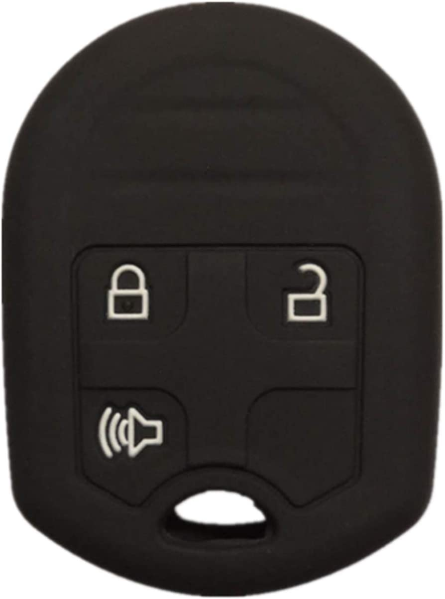 Black 3 Buttons RUNZUIE Silicone Keyless Entry Remote Key Fob Cover Case Fit for Ford Edge Explorer Flex Escape Expedition Fusion Taurus Taurus X Focus Mustang
