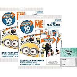 Illuminations Despicable Me 20 Mini Play Packs Party Favors bundle with 20 Thank you Cards (2 bags of 10)