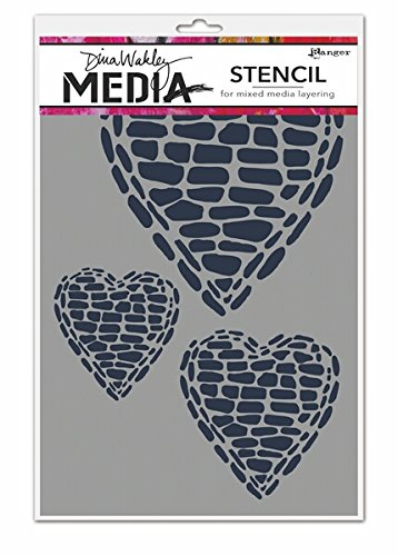 Ranger Pebble Heart Dina Wakley Media Stencils, 6 by 9'' by Ranger