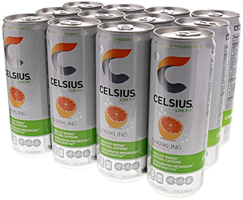 Celsius Live Fit Natural Fitness & Energy Drink 12/12oz Cans (Grapefruit)