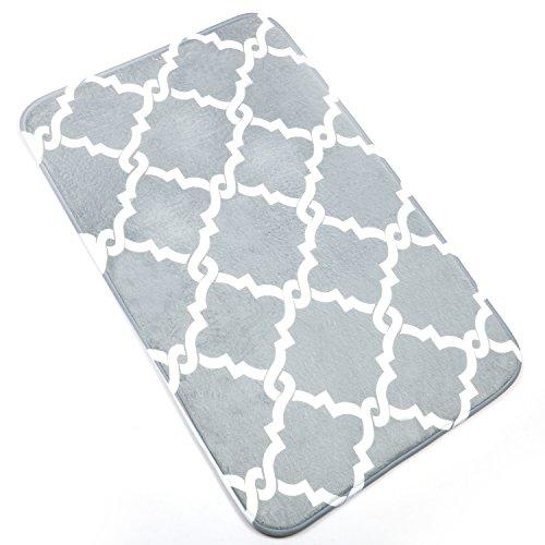 Bath Mat, U'Artlines Comfort Extra Thick Memory Foam Bath Mat Set Bathroom Mats Shower Rugs with Sbr Back and Flannel Surface (19.69x31.5, Grey) by U'Artlines