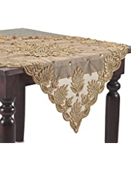 Gold Color Hand Beaded Design Sheer Topper 40 Square 1 Piece