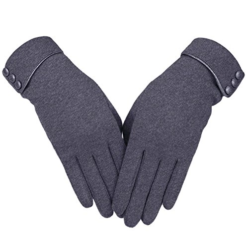 Knolee Women's Screen Gloves Warm Lined Thick Touch Warmer Winter Gloves,Grey Gloves