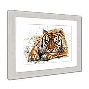 Ashley Framed Prints Tiger Animals Watercolor Wild Cat Illustration Graphic Wildlife, Wall Art Home Decoration, Color, 30x35 (frame size), Silver Frame, AG6580987