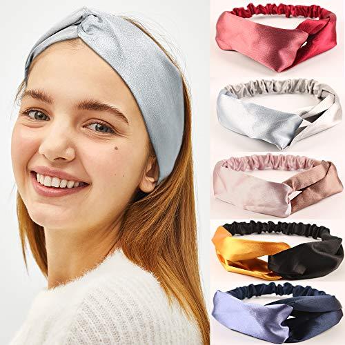 (Topfinder Women Boho HeadBand,Headwraps Hair,Criss Cross Head bands for Women, Elastic Sport Head Wrap Twisted Hair Accessories (5 Pack, Satin dual color))