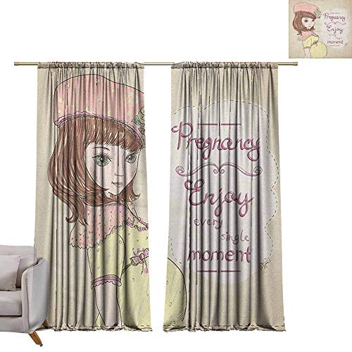 Victorian Clipart - berrly Window Curtain Fabric Quotes,Pregnancy Enjoy Every Single Moment Clipart Pregnant Woman Dress Hat, Eggshell Pink Multicolor W96 x L108 Customized Curtains