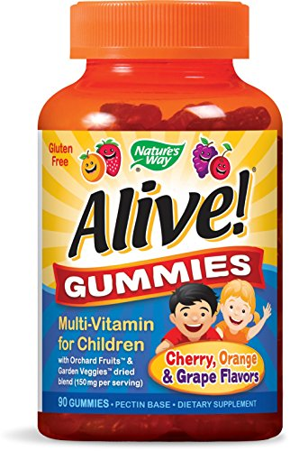 Nature's Way Alive!® Children's Premium Gummy Multivitamin, Fruit and Veggie Blend (150mg per serving), Gluten Free, Made with Pectin, 90 Gummies - Kid Vits Multiple Vitamin