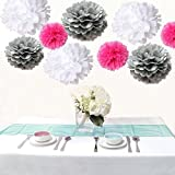 Saitec ® Pack of 18pcs Mixed 3 Sizes White Silver Hot Pink Tissue Paper Pom Poms Pompom Wedding Birthday Party Decoration Baby Shower Favors